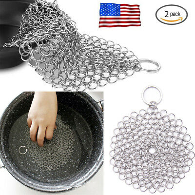 316 Cast Iron Stainless Steel Kitchen Cleaner Brush Scrubber for Cast Iron Pan,Z