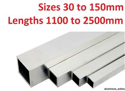ALUMINIUM SQUARE BOX SECTION TUBE 30mm, 40mm, 50mm 60mm, 65mm. 100mm, 150mm