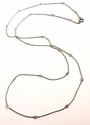 Antique Edwardian- long sterling silver belcher chain, open set facet cut gems