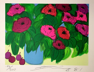 Walasse Ting Flowers 1981 Signed Limited Edition Lithograph