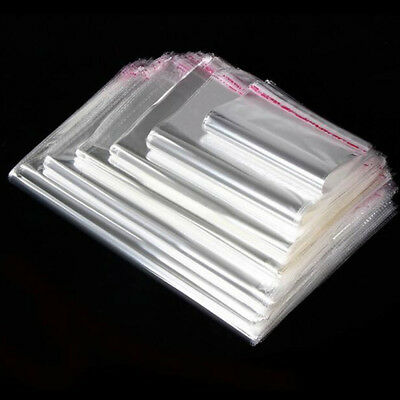LOT Clear Cellophane Cello Bags Plastic OPP Card Display Self Adhesive Peel Seal