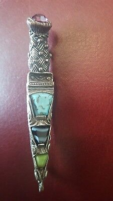 Vintage Brooch Signed Miracle Dagger Kilt Pin Agate Stones Amathyst Celtic Cross