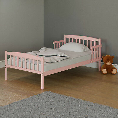 New Little Acorns Pink Toddler Bed Girls Junior Bed With Safety Rails