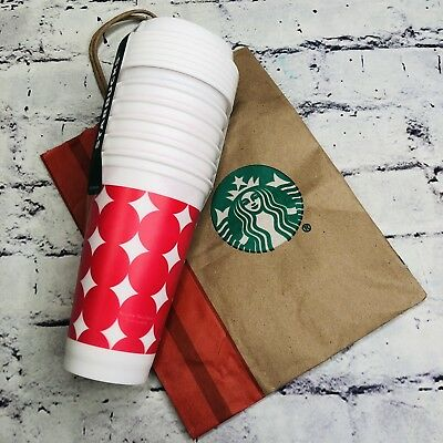 New Starbucks Reusable Cup Collection White red dots Tumbler 16 oz - 6 Pack