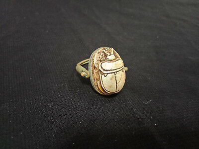 Egyptian Antique Ring topped with Scarab with hieroglyphics Writings