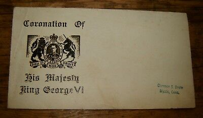 Coronation Of His Majesty King George Vi Envelope -Mystic, Connecticutt Ct-