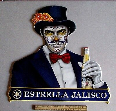 NEW Estrella Jalisco Day of the Dead Man Bar Metal Beer Tin Tacker Sign Man Cave