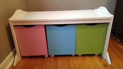Toy Storage with Rolling Bins - Pink Blue Green and white painted wood