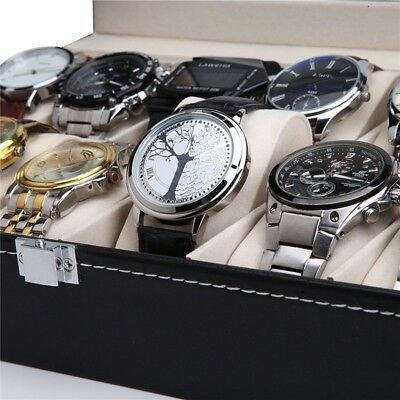 24 Grids Men Leather Watch Box Case Jewelry Collection Storage Holder Display UK