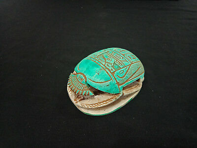 Big Scarab Egyptian Antiques Amulet Figurine With hieroglyphics