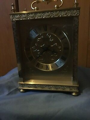A Quality Brass Mantel Clock With Filigree Decoration