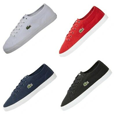 e1a34b280e20f Lacoste Womens Riberac Canvas Trainers Blue Red Black White.Various size