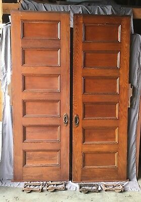 Antique Tall Pair 90x30 6 Panel Oak  Pocket Doors Old Vtg Hardware 629-18E