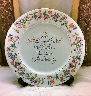 Vintage Anniversary Plate, Mom and Dad with Love by Enesco 25th 50th Gift Parent