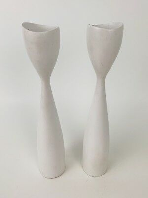 Vintage White Wooden Danish Modern Tulip Candle Stick Holders (2)