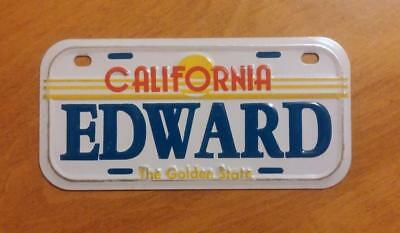 California Golden State Mini Bicycle Bike License Plate With Name EDWARD NOS