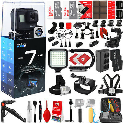 GoPro HERO7 Black 4K 12MP Digital Camcorder w/ 64GB - 42PC Sports Action Bundle