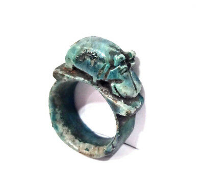 hippopotamus Ring Amulet Egyptian Antique faience Ring Topped With Hippo Figurin