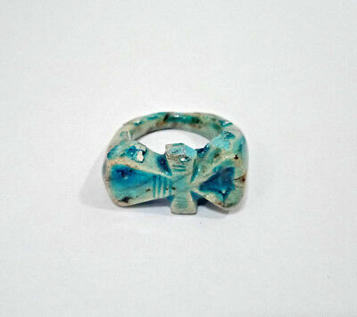 Royal Ring Ankh Amulet Egyptian Antiques faience Ring Topped With Ankh Figurine