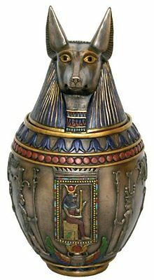 "10.5"" Ancient Egyptian Jackal Canopic Jar - Anubis Burial Urn God of the Dead"