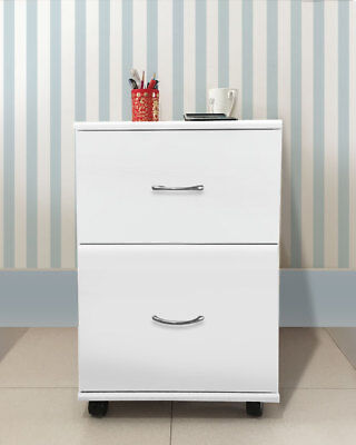 White Home Office Mobile 2 Drawers Pedestal Storage Solution Furniture Cabinet