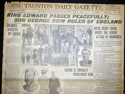Lot 4 1910 Massachusetts Newspaper Front Pages - King Edward VII Death & Funeral
