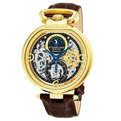 Stuhrling 889 02 Modena Legacy Automatic Dual Time Skeleton Moon Dial Mens Watch
