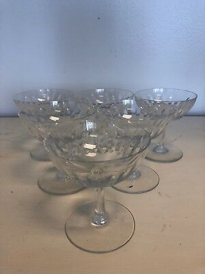 """Baccarat Lorraine France 4"""" Champagne Tall Sherbet Crystal Glass Set of 6"""