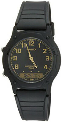 Casio Men's Analog and Digital Black Tone Resin Dual Time Watch AW49H-1B