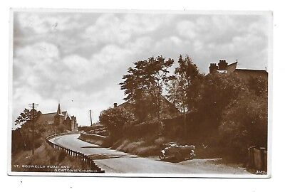 NEWTOWN ST BOSWELLS Postcard Roxburghshire White Fathers Advertising 1935 Church