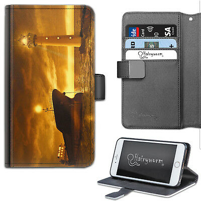 Lighthouse Phone Case, Leather Wallet Flip Case, Cover For Samsung, Apple, Sony