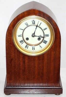 Antique Carved Mahogany French Gothic Beehive Mantel Clock W/ Porcelain Dial.