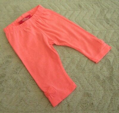 Baby Girls Cotton Neon Pink Leggings Bow on the Ankle (9-12 Months)