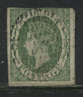 St. Lucia QV 1860 (6d) green imperf used