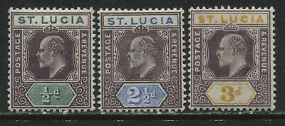 St. Lucia KEVII 1904 1/2d. 2 1/2d, and 3d on chalky paper mint o.g.