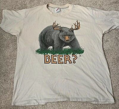 8501602e57716 BEER DEER BEAR Funny T-SHIRT Humor alcohol college party drinking ...