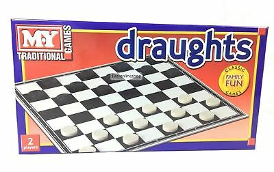 1 X Traditional Classic DRAUGHTS Full Size Family Fun Children Kids Games Board