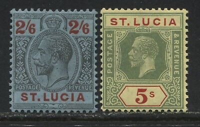 St. Lucia KGV 1921-24 2/6d and 5/ mint o.g.
