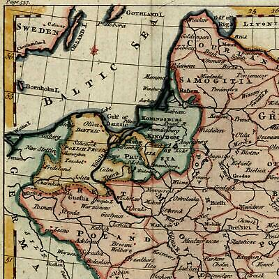 Poland Lithuania Prussia 1790 interesting Kitchin hand color old map