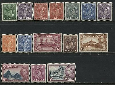 St. Lucia KGVI 1938-48 1/2d to 5/ unmounted mint NH
