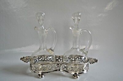 Vintage Glass Oil & Vinegar Jugs Stoppers  Yeoman Silver Plated on Brass Holder