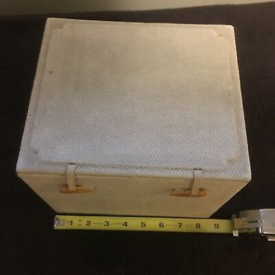 Cloth covered wooden box with lining and latches
