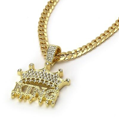 """Mens 14k Gold Plated Hip Hop KING Pendant Cuban Chain 6mm (24"""" or 30"""")"""