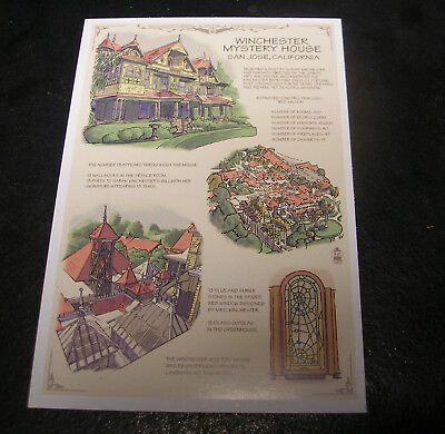 San Jose,Ca. - Winchester Mystery House Retired Postcard - Mansion Facts