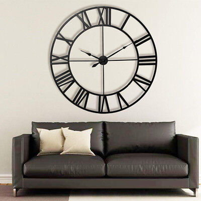"""23"""" Large Outdoor Garden 3D Wall Clock Antique Roman Numeral Round Open Face US"""