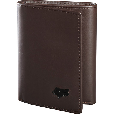 Fox Racing Men's Trifold Leather Wallet Brown ~ New in Box!!