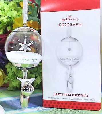 Hallmark Baby's First CHristmas Rattle 2013 ornament Glass Rattle