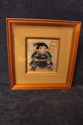 Ando Cloisonne Framed picture of a warrior with sword