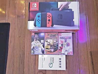 Nintendo Switch - 32GB Gray Console Neon Red/Neon Blue Joy-Con with 3 games