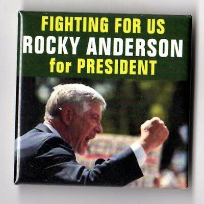 Rocky Anderson political campaign button pin 2012 Justice Party #1